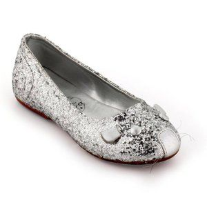 Little Marc Jacobs Silver Glitter Mouse Flats